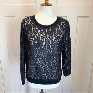 Joie Crew Neck Long Sleeved Lace Top Size Medium